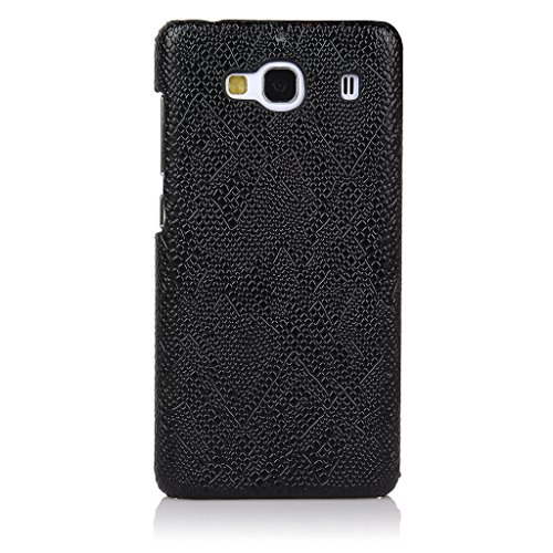 ImagineDesign(TM) Premium Litchi Pattern Handmade Leather Back Case Cover For XIAOMI MI REDMI 2 / REDMI 2 PRIME (Black with Embossed Pattern)