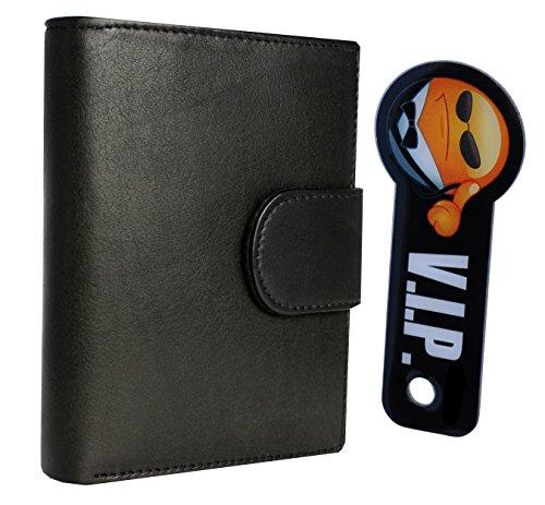 Premium Portemonnaie mit RFID-Blocker aus echtem Leder mit 10 Fächern für Kreditkarten und Schlüsselfinder
