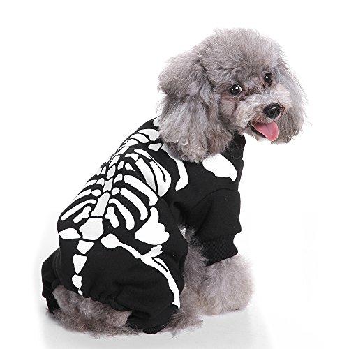 BOENTA Hund Kleidung Kostüm XS Hund Winter Warme Hoodies Halloween Dekoration Kostüm für Jungen Mädchen Kleine Hunde (Skelett)