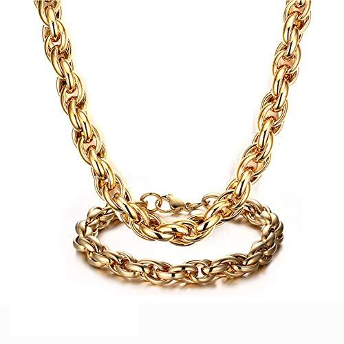 J.Me.Mi Herren Halskette Edelstahl Armband Schmuck Set Kaffeebohne Bohnen Mit Kette verdrehen Anhänger, Längen 56cm,B - Herren-bohnen