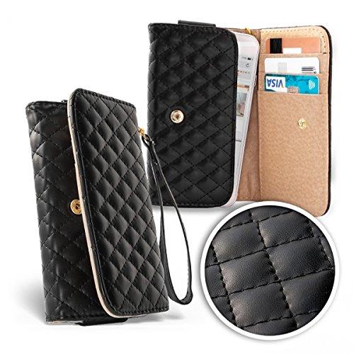 Bralexx elegante Smartphone-Tasche und Damen-Geldbörse in einem Portemonnaie Tasche Hülle Case SCHWARZ, mit 1x großem Geldfach, 3x Kreditkartenfächer, 1x Smartphone-Fach ( maximale Handygröße: 158 x 80 x 15 mm), abnehmbare Handschlaufe