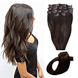 ChicFusion Clip in Extensions Remy Echthaar Haarverlängerung Haarverdichtung Strähnen Dunkelbraun 100g 40cm