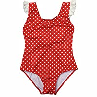 iEFiEL Girls Kids Red One Piece Polka Dots Swimsuit Beachwear Summer Swimming Clothes Red 6 Years