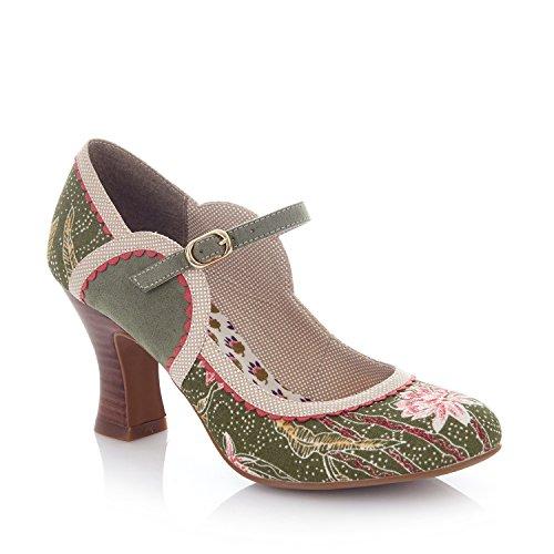 Ruby Shoo Damen Pumps Rosalind Floral Blüten Riemchen Schuhe Grün Geschlossen 38