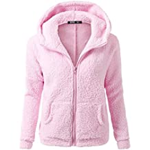 Mujer Color Sòlido Sudadera con Capucha Camiseta Deporte Suéter Casual Chaqueta con Cremallera Pullover Pink M