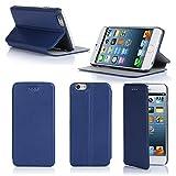 Ultra Slim Tasche Leder Style iPhone 6 Plus 5.5 Hülle Blau Cover mit Stand - Zubehör Etui smartphone 2014 Apple iPhone 6 Plus 5.5 Flip Case Schutzhülle (Handy tasche folio PU Leder, Blue) - Brand XEPTIO accessoires