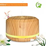 450ML Diffuseur Aromathérapie de Grande Capacité, Diffuseur parfum maison d Huile Essentiel de Grain de Bois avec 4 réglages de minuterie et 8 lumières LED de couleur