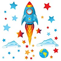 GET STICKING DÉCOR® SPACE WALL STICKERS & ROCKET WALL STICKERS COLLECTION, Big Blue Rock.20, Glossy Vinyl, Multi Color. (Medium Blue Rocket)