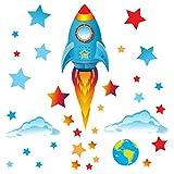GET STICKING DÉCOR® Weltraum, Weltraumrakete Wandtattoo, Wandsticker...