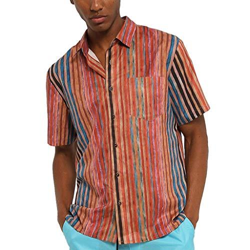 Tyoby Herren Sommer Hemden Reversstreifen Kurzärmliges Knopf Shirt,Freizeit Strand Hawaii-Stil Spitze(rot,XL)