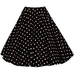 Para Mujer Vintage Floral Swing Full Circle Casual Falda Corto Retro Vestidos Punto Negro XL