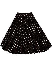 Para Mujer Vintage Floral Swing Full Circle Casual Falda Corto Retro Vestidos Punto Negro S