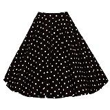 Para Mujer Vintage Floral Swing Full Circle Casual Falda Corto Retro Vestidos Punto Negro XXL