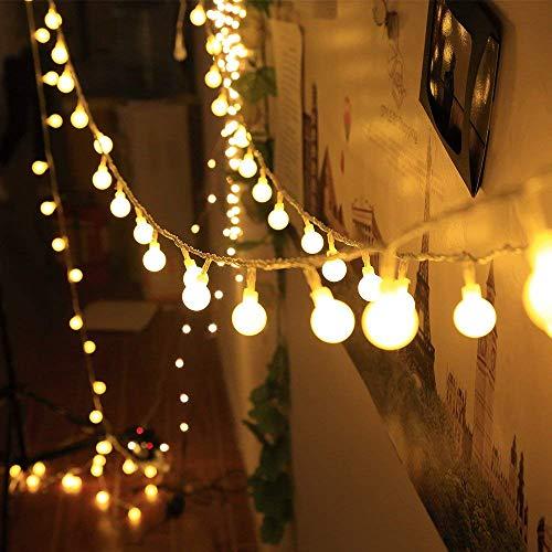 Qedertek Weihnachten Deko, Globe LED Lichterkette Strombetrieben 5m 100 LED Glühbirne Lichterketten Warmweiss für Zimmer, Garten, Halloween Party