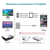 Lightning to HDMI Adapter Cable, Lightning Digital AV Adapter for iPhone 8/7/6/5 Series, Pad Air/mini/Pro, HDTV Adapter 1080P [Support IOS 10.3 up to IOS 11-Lightning Charging Port Must Be Connect]