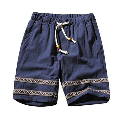 Zhhlaixing Jugendliche Jungen Herren Vintage Leinen Stripe Casual Kurze Hose Sommer Urlaub Strand Athletic Kordelzug Kurze Hose