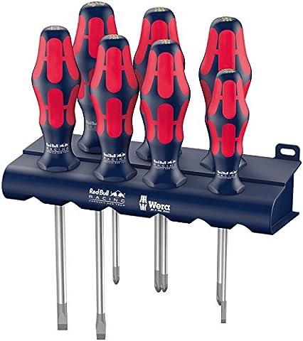Wera Red Bull Racing Schraubendrehersatz Kraftform Plus Lasertip + Rack, 7 Stück, 05227700001