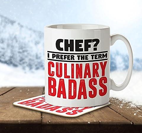 Chef? I Prefer the Term Culinary Badass - Mug and Coaster By Inky Penguin