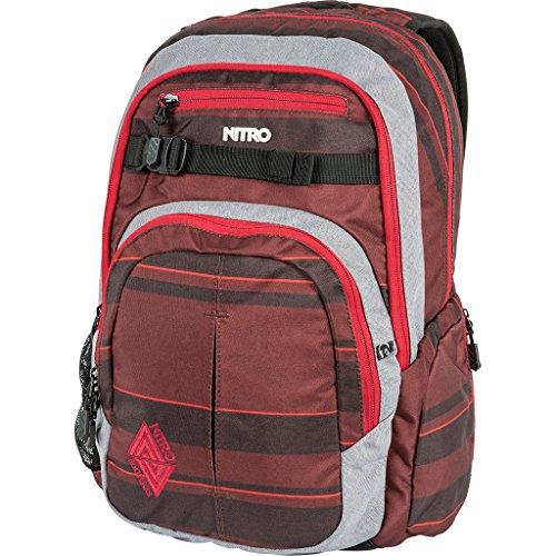 Nitro Chase Rucksack, Schulrucksack mit Organizer, Schoolbag, Daypack mit 17 Zoll Laptopfach,  Red Stripes -