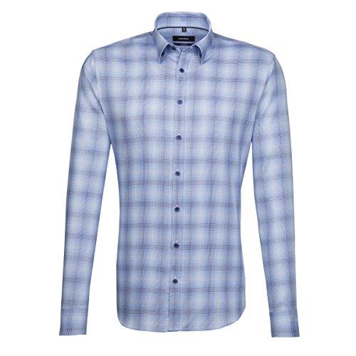 SEIDENSTICKER Herren Hemd Tailored 1/1-Arm Bügelleicht Karo City-Hemd Button-Down-Kragen Kombimanschette weitenverstellbar blau (0013)