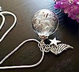 Regalo de dia de madres Ala del ángel Collar de diente de león Cadena de plata esterlina Caja de regalo - Estrella colgante joyería de simpatía regalo de duelo para mujeres