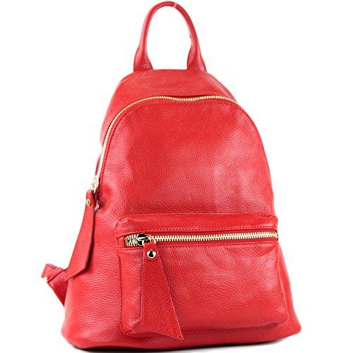 modamoda de - T171A - ital Damen Rucksacktasche aus Leder, Farbe:Rot