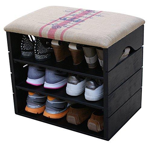 Scarpiera (nero) - ottima, organizer per scarpe in legno vintage, deposito, armadietto, panca di sostegno, con seduta morbida, adatta per l'ingresso e il corridoio. legno nordico solido - liza - 51 x 45 x 36 cm (rosso rigato)