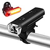 Rechargeable LED Bike Lights, Gaxiog Bike Lights Set, 4 Light Mode Options,Waterproof Bike Lights , Easy Install Apply to Various bikes,USB Rechargeable Front Light Headlight and Tail Back Light