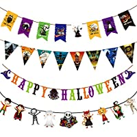PintreeLand Halloween Banner Set 3M/9.9Ft Pack of 4 Cute Happy Halloween Decorations Indoor Halloween Bunting Decor Party Favors