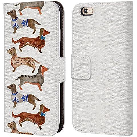 Ufficiale Cat Coquillette Bassotti Animali Cover a portafoglio in pelle per Apple iPhone 6 / 6s