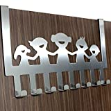#3: HOME CUBE® Happy Family 8 Stainless Steel Door Hook Organiser / Wall Hook Hanger for hanging Clothes, Jeans, Umbrellas, Jackets, Scarfs, Bags, Keys, Towel in Room, Kitchen, Bathroom etc