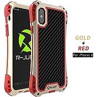 iPhone x case 360 ° Vollschutz, Licht, Staub, Fallschutz, mit gehärtetem Glas (Goldenes Rot)