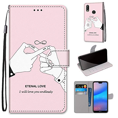 Miagon Flip PU Leder Schutzhülle für Huawei P20 Lite,Bunt Muster Hülle Brieftasche Case Cover Ständer mit Kartenfächer Trageschlaufe,Finger Liebe