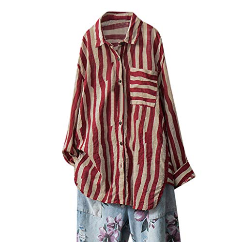 SEWORLD Bluse Damen Langarm Tunika Tops Übergröße Baumwolle Leinen Gestreifte Knopfbluse Tops Hemdoberteil Pullover Kostüme Dailywear Strandshirts Leicht T-Shirt(Rot,EU-36/CN-M) (Rot Gestreifte Shirt Kostüm)