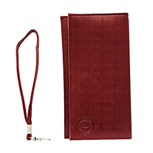 Jo Jo A5 D4 Leather Wallet Universal Pouch Cover Case For Wine Redmi 2 (Grey, 8 GB) Wine Red