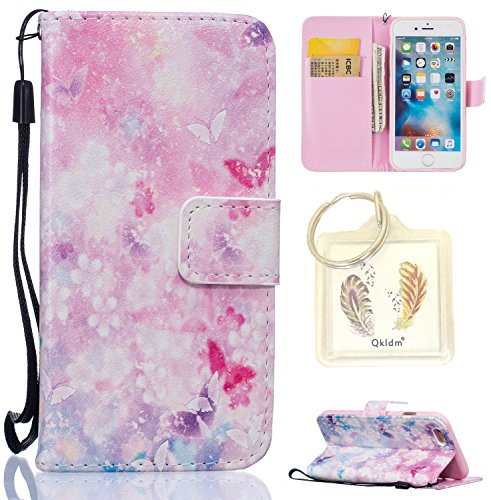 Coque Apple iPhone 6G / 6S Case Wallet Phone Stand Cover with Credit Card Slots Flip Protective Case For Apple iPhone 6G�?,7 pouces�?-photo Frame Keychain (HH) (11) 3