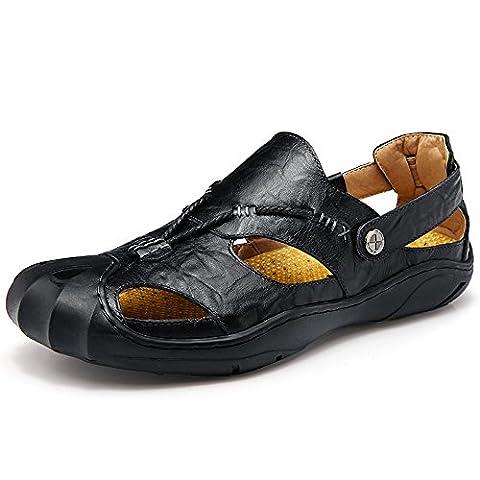 LiliChan Chaussures de sport pour femme en cuir véritable en cuir véritable Chaussures de sport en plage fermée Sandales de pêcheur (38,