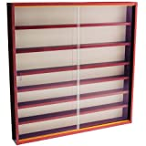 REVEAL - 6 Shelf Glass Wall Collectors Display Cabinet - Mahogany ()