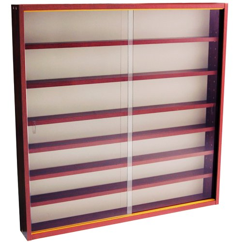 514nGySX2nL. SS500  - WATSONS REVEAL - 6 Shelf Glass Wall Collectors Display Cabinet - Mahogany