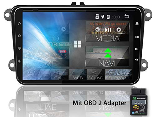 Tristan Auron BT2D7023VW Digitalradio + OBD 2 Adapter für VW Seat Skoda, Android 8.1, 7'' Touchscreen Bildschirm, GPS Navi, Bluetooth Freisprecheinrichtung, Quad Core, USB/SD, DAB+, 2 DIN