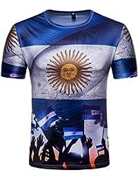 Camisetas, ❤️⚽️Ba Zha Hei Camiseta con estampado de fútbol de la cool Copa del Mundo Arriba Camisa corta manga de moda Camiseta…