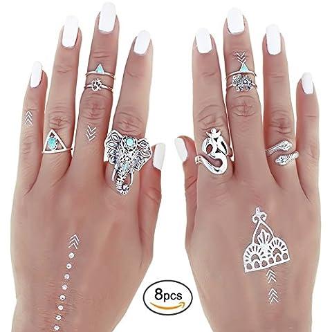 Shirley Turquesa Anillo Midi de uñas de nudillos de Articulación de cabeza de elefante (8unidades), diseño de anillos