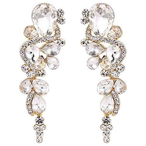 Clearine Women's Bohemian Boho Crystal Wedding Bridal Multiple Teardrop Chandelier Long Dangle Earrings Gold-Tone