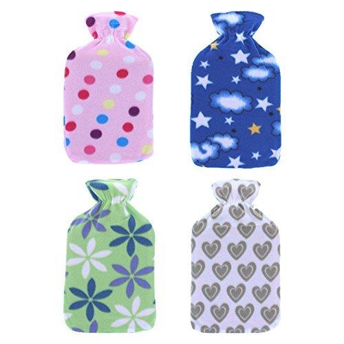Wärmflasche mit weichem Fleecebezug, 2 l, 2 Stück