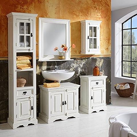 SIT-Moebel Set de baño con gabinetes y espejo blanco Vintage Malaga