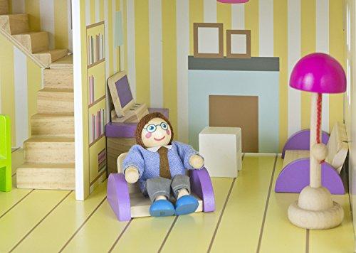 Bella alpina casa delle bambole in legno mobili di famiglia e