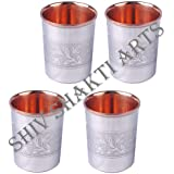 """SHIV SHAKTI ARTS 3.5"""" X 2.8"""" Set of 4 Handmade High Quality Solid Copper Stainless Stainless Steel Designer Glass Cup Volume 250 ML For use Drinking Water Restaurant Home Hotel Garden Ware Gift Item Good Health Benefits Yoga, Ayurveda"""