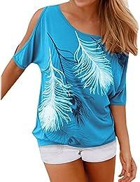 Mujer Camiseta Pluma Hombro Caido Manga Corta Sin Tirantes Cuello Barco T-Shirt Off Shoulder