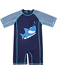 7038cc82fc CharmLeaks Baby Boy Surf One Piece Zip Rash Guard UV All-in-One Swimsuit