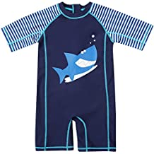 CharmLeaks Baby Girls Boys Surf One Piece Zip Short Sleeve Rash Guard UV Sun Protection Swimsuit Swimwear UPF 50+